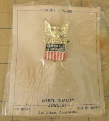 WWII Vintage STERLING Silver Homefront sweetheart in Service U.S. Military pin