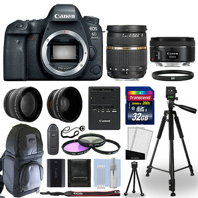 Canon EOS 6D Mark II DSLR Camera + 4 Lens Kit 28-75mm AF + 50mm + 32GB & More