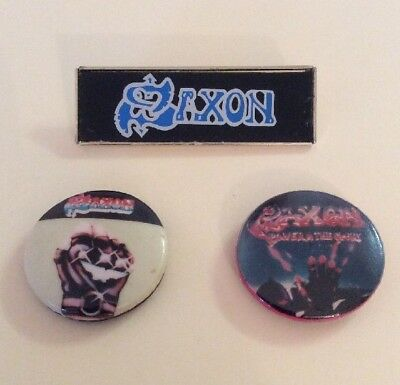 Saxon - Heavy Metal - 2 Button Pin and a Group Name Badge Circa 1980s (Unused)