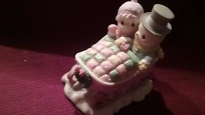 Precious moments snowman in sleigh figurine