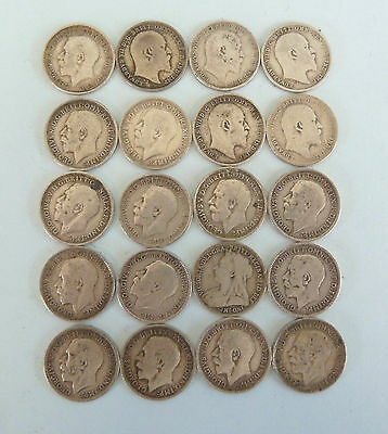 20 Pre 1920 Three Pence SOLID Silver COINS. 1900-1919. 27g