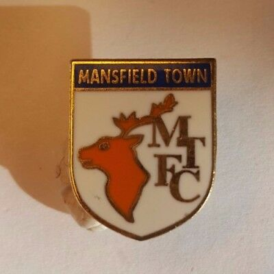 Mansfield Town Enamel Football Badge_White shield with deer and blue trim