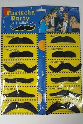 6 Style Of Fake Moustaches/Mustache 12 pcs Black Fancy Party Costume Accessory