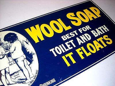 """Wool Soap """"washes Woolens Without Shrinking"""" General Store Style Tin Sign"""