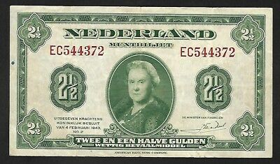 Netherlands Two and a Half (2.5) Gulden No.2 dated 1943 Serial EC g F+