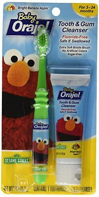 Orajel Baby Elmo Tooth & Gum Cleanser w/ Toothbrush, Apple Banana, 1.0 OZ