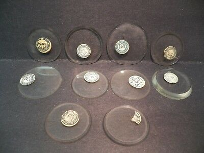 ANTIQUE THICK GLASS POCKET WATCH CRYSTALS lot of 10