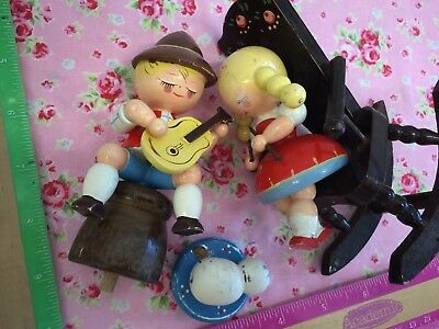 Vintage IRMI Figures.. Boy And Girl..Vintage Nursery...ADORABLE.. WOODEN..USED