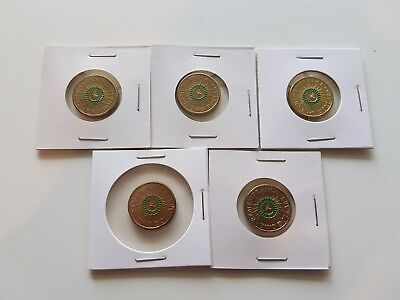 Set Of FIVE 2014 Remembrance $2 Coins Green Coloured Ring -Some UNC/Security Bag