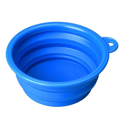 Dog Cat Pet Silicone Collapsible Travel Feeding Bowl Water Dish Feeder Blue