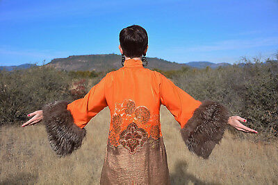 Incredible Re-Styled 1920s Cheongsam Mandarin Coat Dress Gold Lame Fox Fur Cuffs