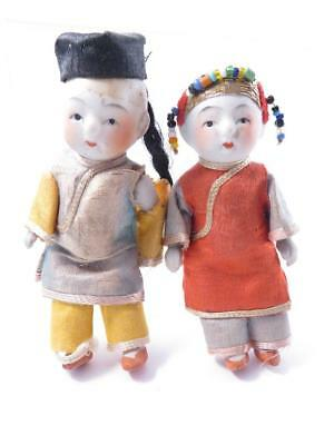 Pair Of Small Vintage Bisque Boy And Girl Chinese Asian Dolls