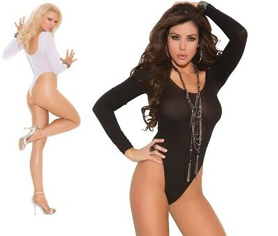 Elegant Moments, Black or White Long Sleeve Opaque Teddy, Popper Crotch Bodysuit
