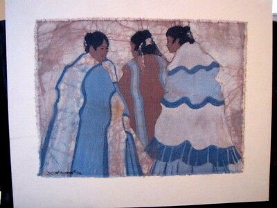 Original Lydia Dillon Sutton Native American Colorful Batik Art Painting 3 Women