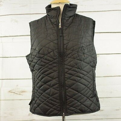 ROYAL ROBBINS Packable Quilted Vest Black Front Zipper Hiking Womens Large
