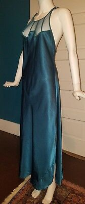 Victorias Secret VTG Satin Long Nightgown Emerald Green Strappy Mesh M Great!