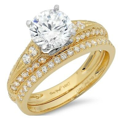 2.2ct Round Cut Bridal Engagement Wedding Ring Band Set Solid 14 Two-Tone Gold