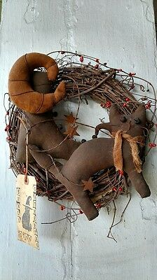 Small Gathering Grapevine Wreath Black Cat Boot Moon Halloween Primitive