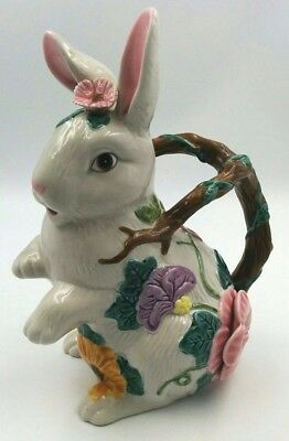 Fitz And Floyd 1995 Bunny Rabbit Sunflower Water Jug Floral Woodland Pitcher