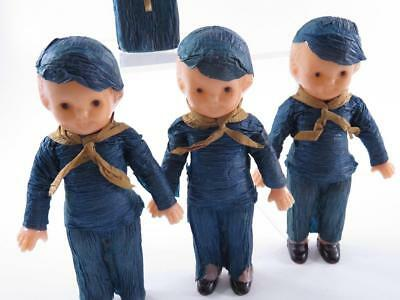 Lot Of 3 1930S Vintage Boy Scout Celluloid Dolls With Bible Crepe Paper Outfit