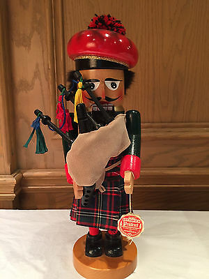 "Christian Steinbach - 15"" ""scottish Bagpiper"" Wooden Nutcracker, Germany"