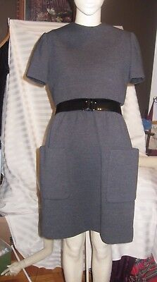 Vintage  NORMAN NORELL Couture Dress Grey  100% Wool-Statement Piece AS IS