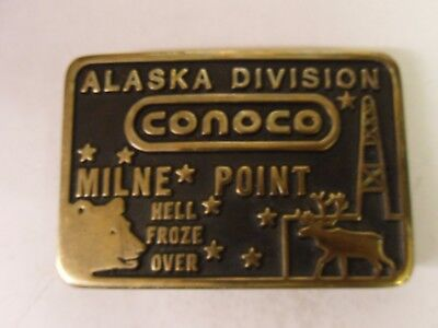 """Milne Point Alaska Division  Conoco Oil Field Buckle """"hell Froze Over"""""""