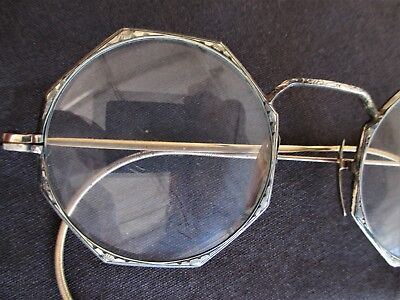 Antique 10k Gold Octagon Eyeglasses Well Done Filigree Thruout w Case