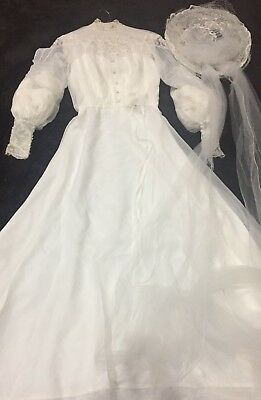 VTG 1970's Wedding Dress Off White Long Sleeve Lace Train Hat Long Vail Beaded