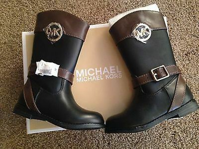 MICHAEL KORS BLACK/BROWN LEATHER EMMA-BLIA 888 TALL WINTER BOOTS Girls Size 1
