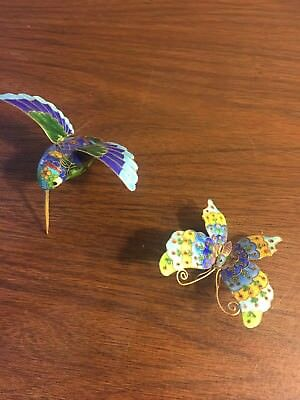 Cloisonne Hummingbird And Butterfly