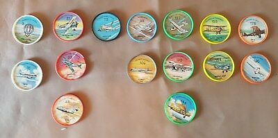 1960s Jell-O Hostess Planes Picture Wheel Coins 15 Pcs.