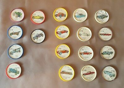 1960s Jell-O Hostess automobile Picture Wheel Coins 18 Pcs.