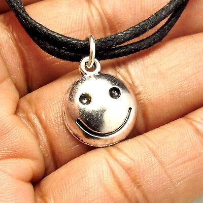 Happy Smiling Face Choker Necklace with Antique Silver Charm