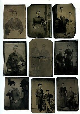 9 Antique Tintype Photos Various People Poses