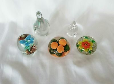 Paperweights Assorted Art Glass Lot of 5