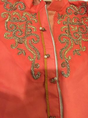 Designer Embroidered Chiffon Dress W/Dupatta and Pants.S New!