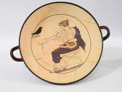 Vintage Greek Kylix, Hand Painted & Signed, Apollo, Fine Terracotta Replica
