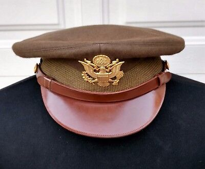 WWII US Army Officer's Wool OD 33 Service Cap size 7 3/8 Sept 1944