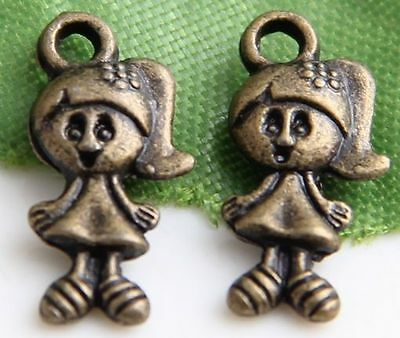 Free Ship 30Pcs Bronze Plated Lovely Girl  Charms 15X7mm