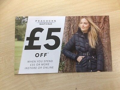 Peacocks Voucher £5 off when you spend £35+ instore/online, valid until 04/11/17