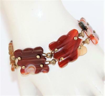 Antique Victorian Carved Banded Agate Six Panel Bracelet circa 1880