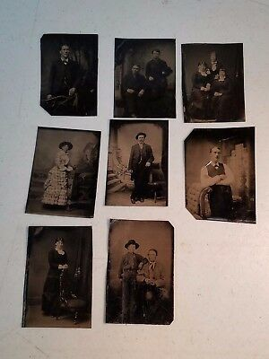 8 Lot Tintype Photos ALL SHOWN Pretty Ladies Handsome Men