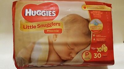 Huggies Little Snugglers Baby Diapers, Size Preemie, 30 Count FAST SHIPPING