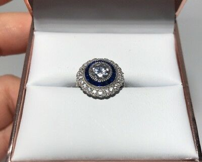 Art Deco Lady Sterling Silver Cz Sapphire Ring Size 8-8.5