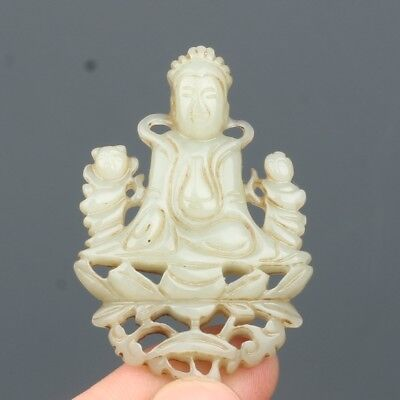 China Exquisite Hand-Carved Guanyin carving Hetian Jade Pendant