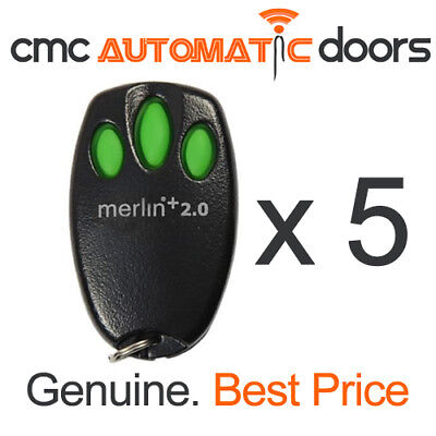5 x Merlin Remote Control E945M + 2.0 Garage Door Remote. Genuine Remote 2.0