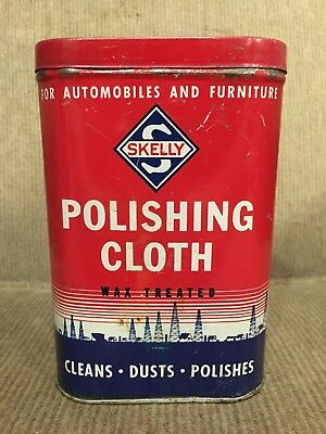 Vintage Skelly Oil Company Polishing Cloth Tin - 5 1/4 inches tall w/ Cloth