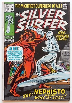 The Silver Surfer #16 (1970, Marvel) - VS. MEPHISTO - Buscema - Lee - 1st Series