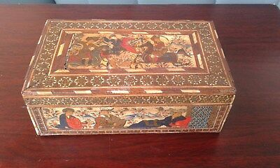 Rare Antique Persian  Box HAND PAINTED SCENES WITH INLAYS